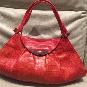 Large FURLA red crocodile embossed shoulder bag
